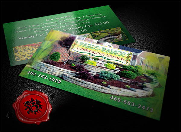 custom landscaping business card