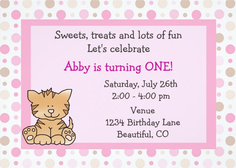 cute kitty party invitation