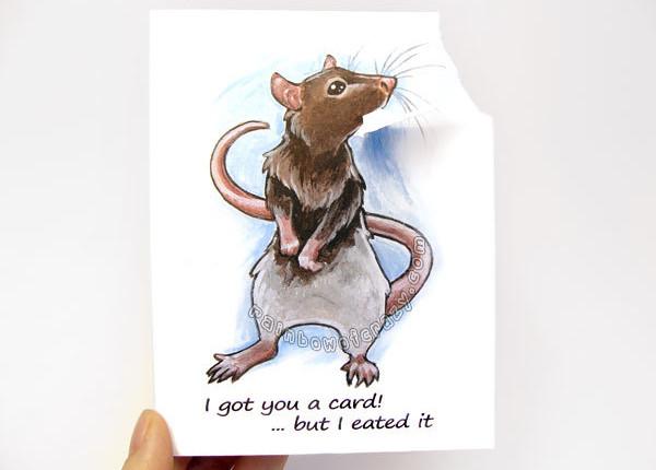 cute rat funny greeting card1