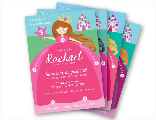 9 Princess Party Invitations PSD PNG Vector EPS Format Download – Diy Princess Party Invitations