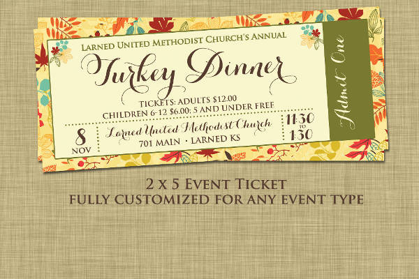 Dinner Event Ticket  Dinner Tickets Template