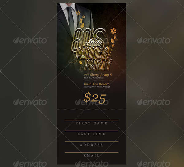 dinner party ticket template
