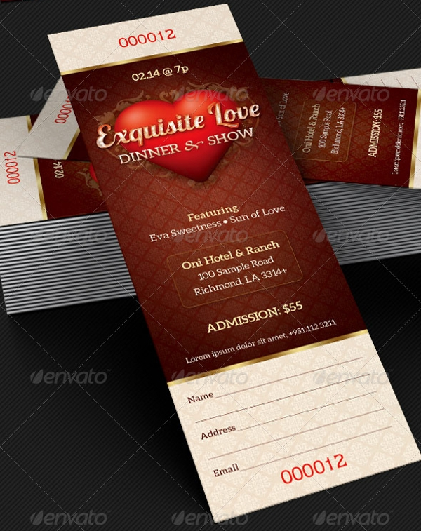dinner ticket template in psd
