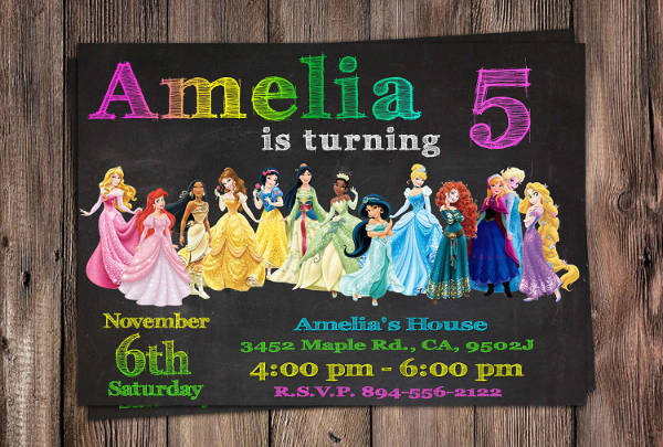 disney princess party invitation