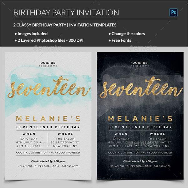 elegant birthday invitation card