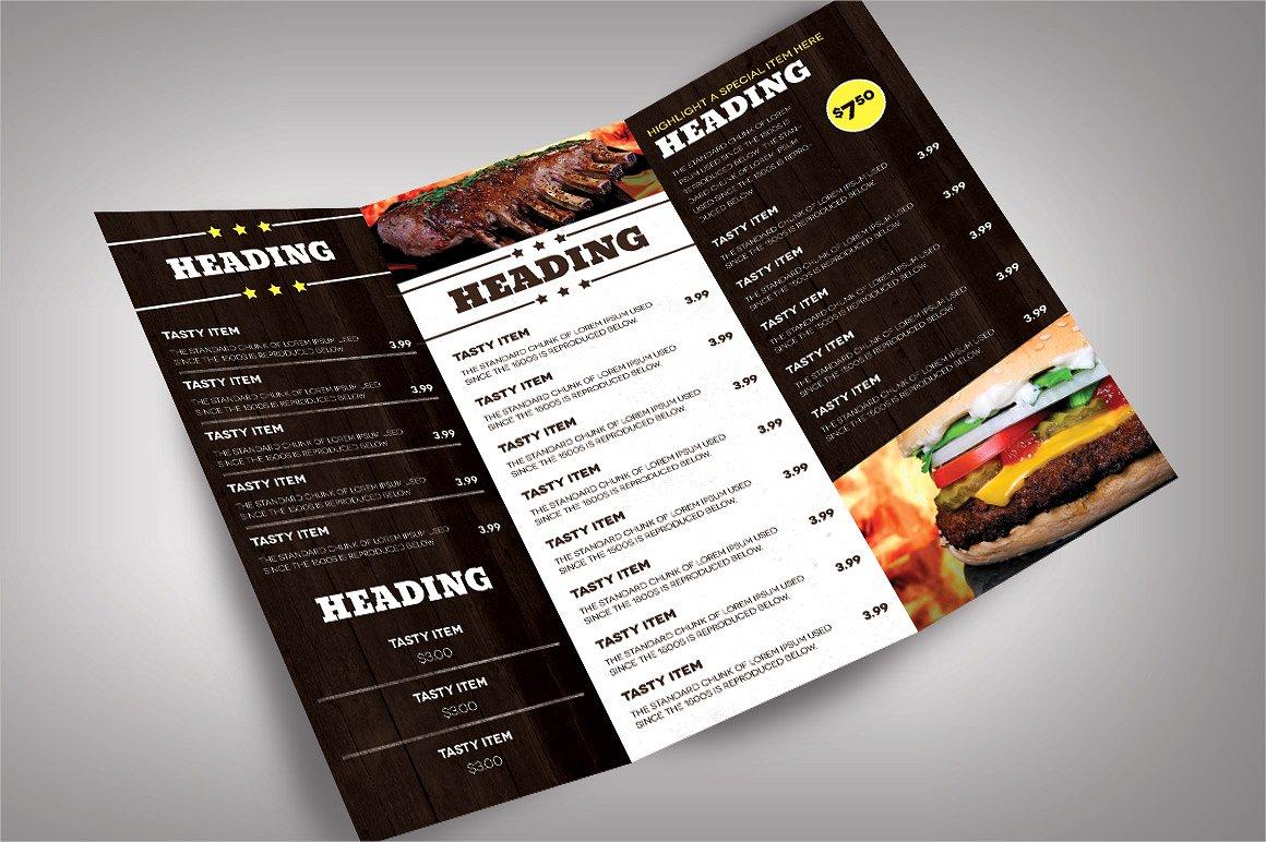 elegant food menu brochure