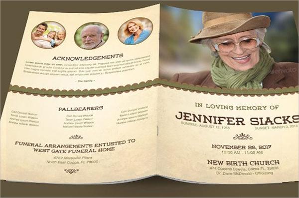 elegant funeral program brochure