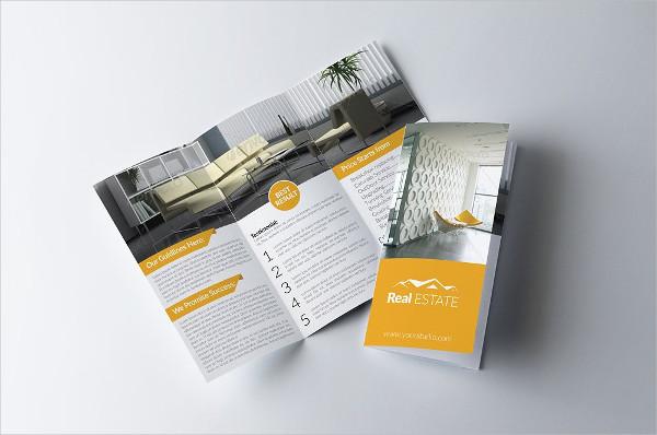 elegant trifold property psd brochure