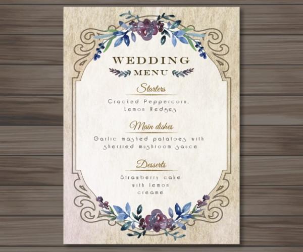 elegant vintage menu for wedding