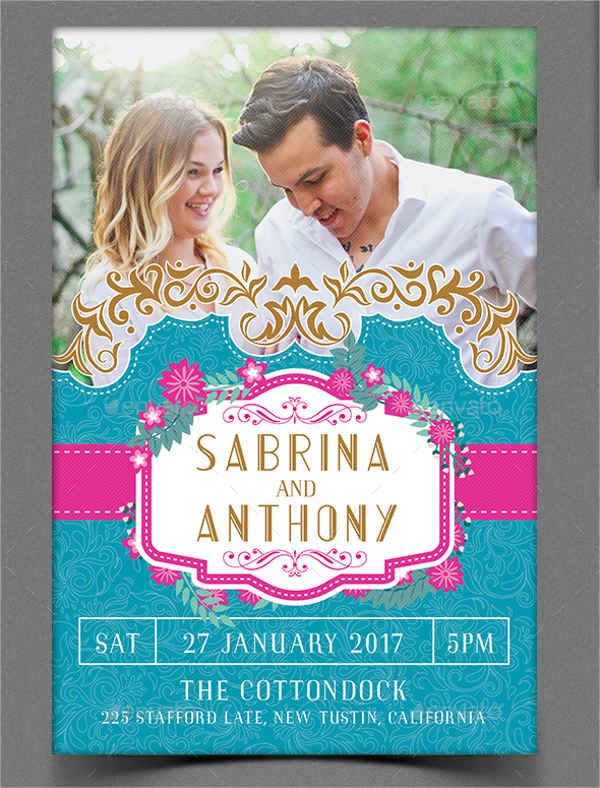 elegant wedding invitation flyer