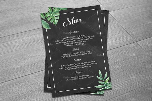 elegant wedding party menu