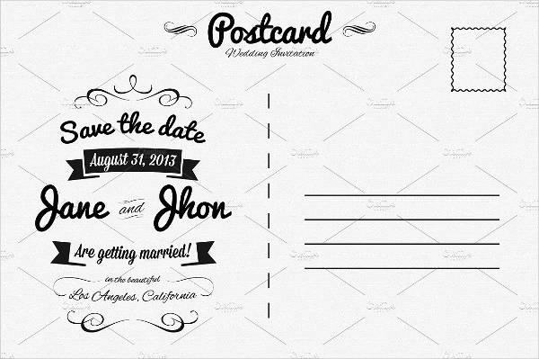 elegant wedding postcard template