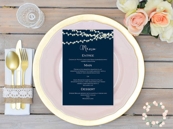 engagement event menu card template