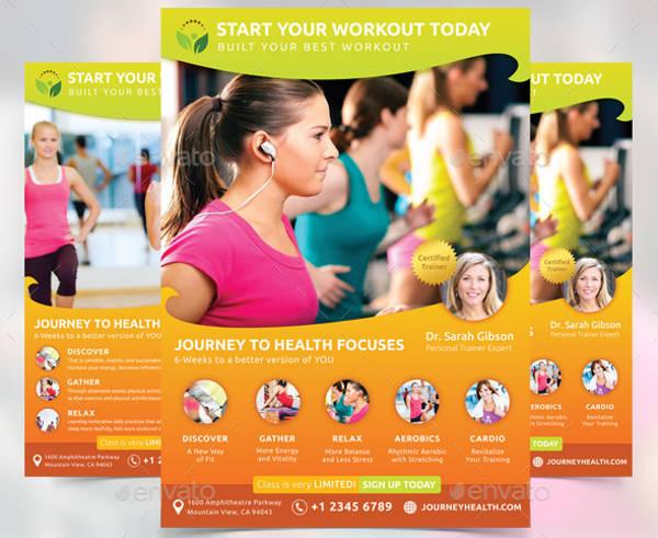 fitness class psd flyer