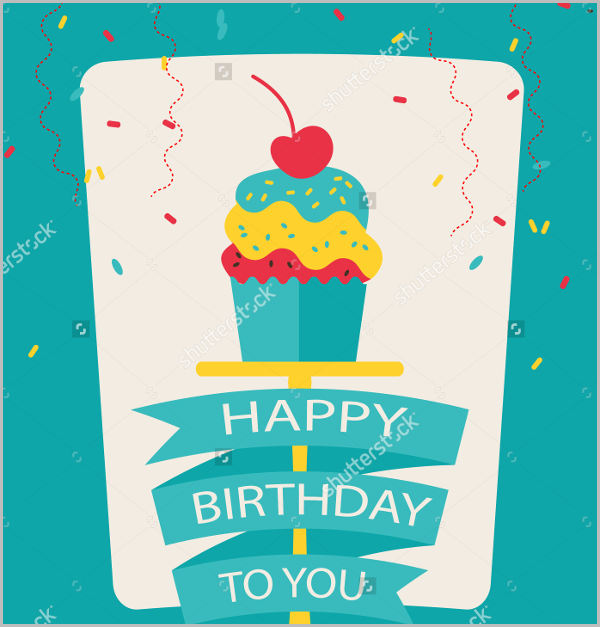 flat happy birthday card