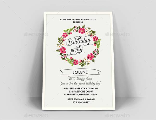 floral birthday invitation card1