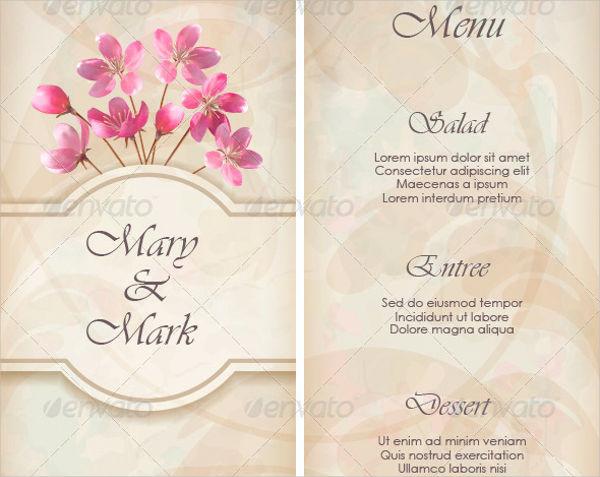 floral decorative wedding menu