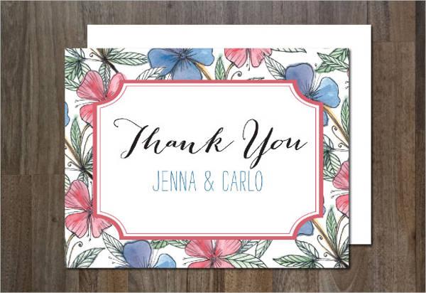 floral thank you postcard