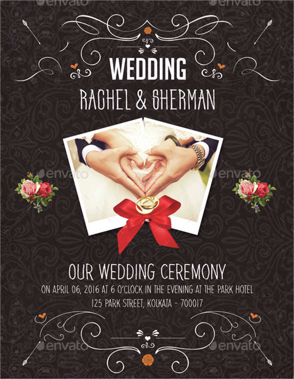 floral wedding invitation flyer
