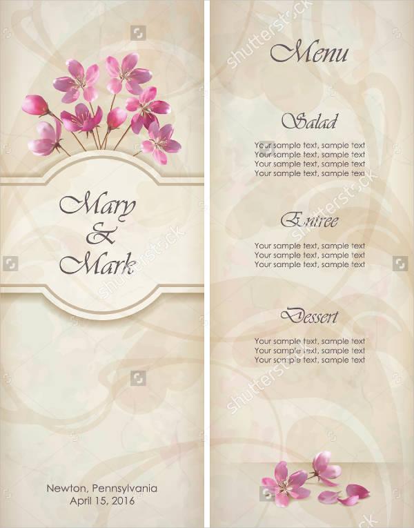 floral wedding menu invitation template