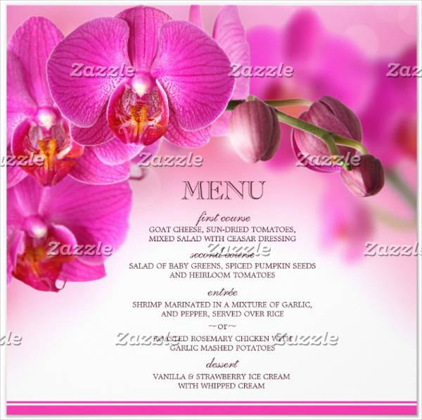 floral wedding menu invitation template1