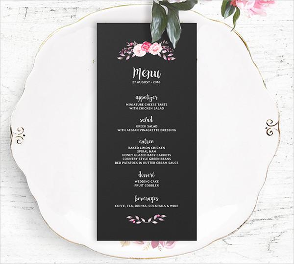 flower wedding menu template