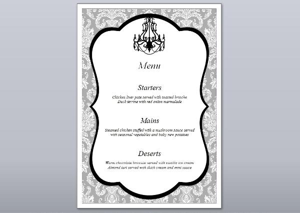 formal engagement menu template1