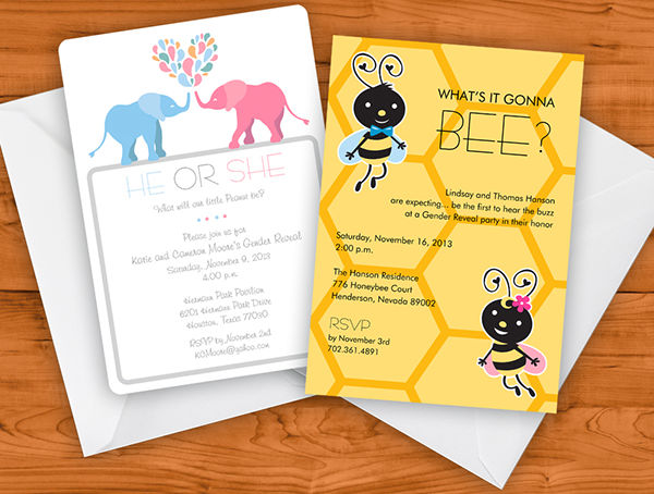 free printable gender reveal party invitation