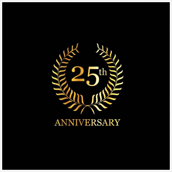 free vector 25th anniversary card