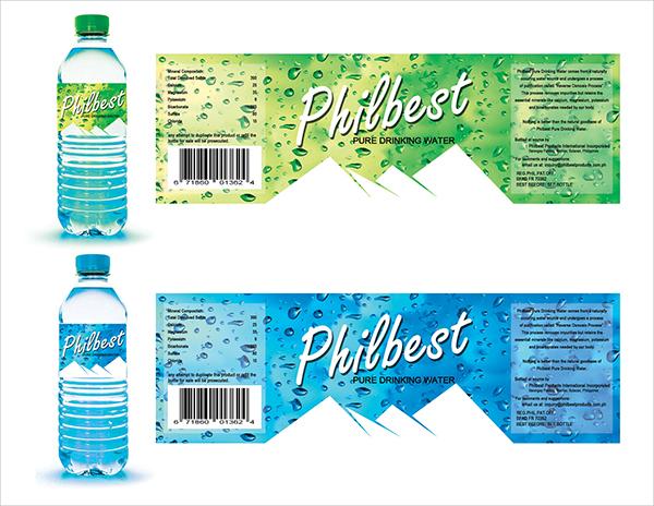 free water bottle label design