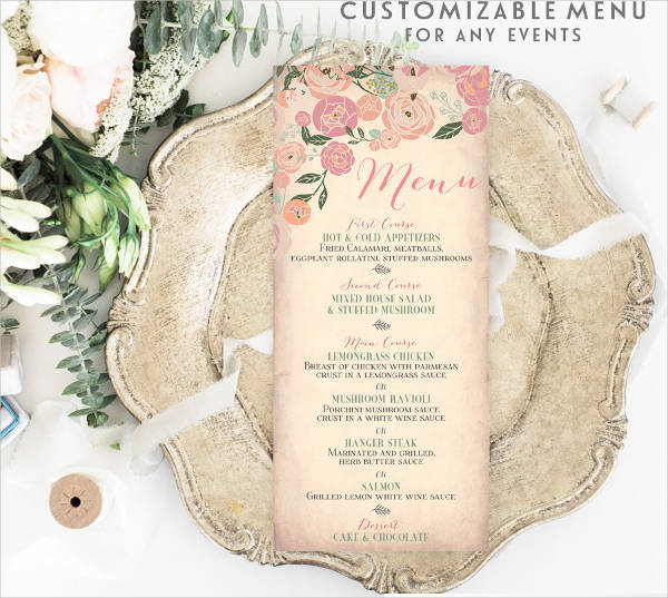 garden party bridal shower menu design