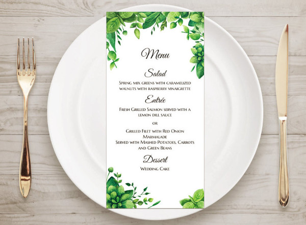 garden party wedding menu template
