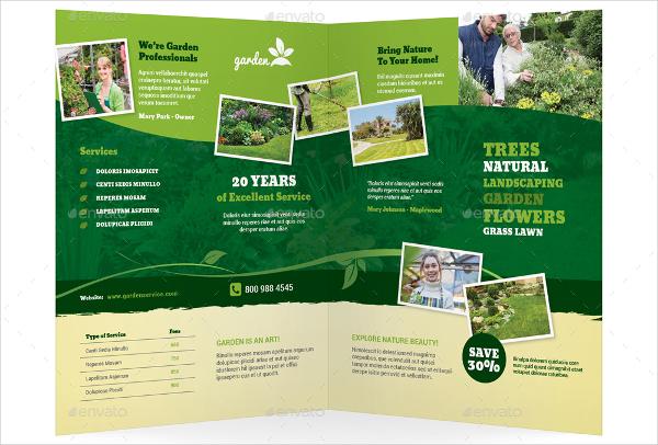 garden service half fold brochure