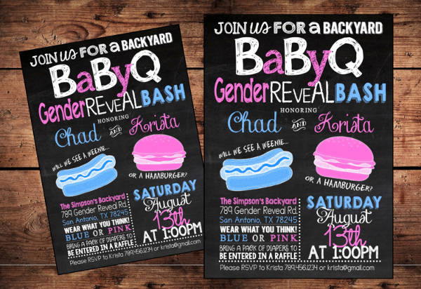 gender reveal bbq party invitation