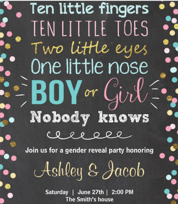 gender reveal baby shower party invitation