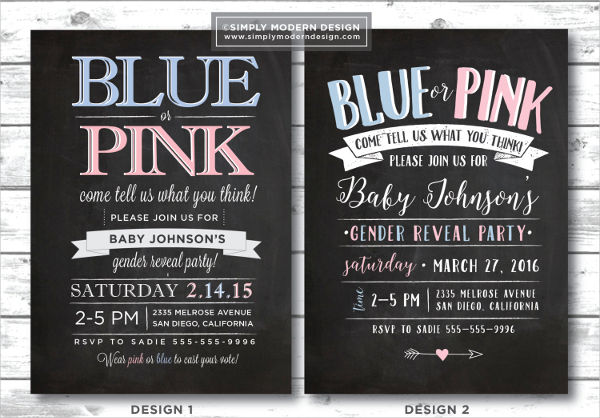 gender reveal party chalkboard invitation