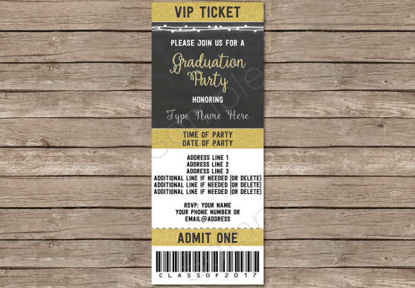 graduation party ticket template