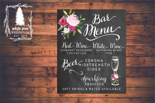 grey chalkboard wedding menu