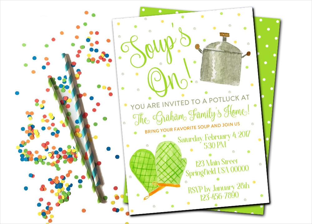 handmade potluck party invitation