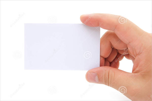 hands holding blank business card