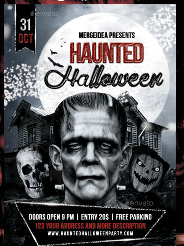 haunted halloween invitation flyer