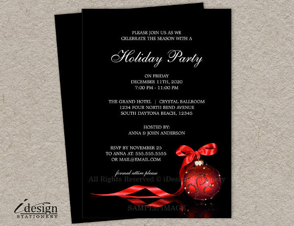 holiday corporate party invitation