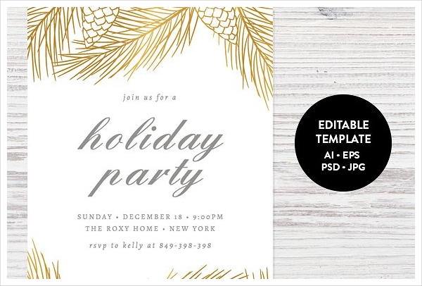 holiday party invitation psd template