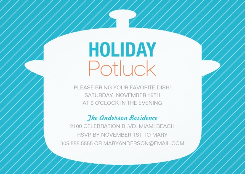 holiday potluck party invitation wording