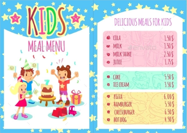 kid's birthday party menu template