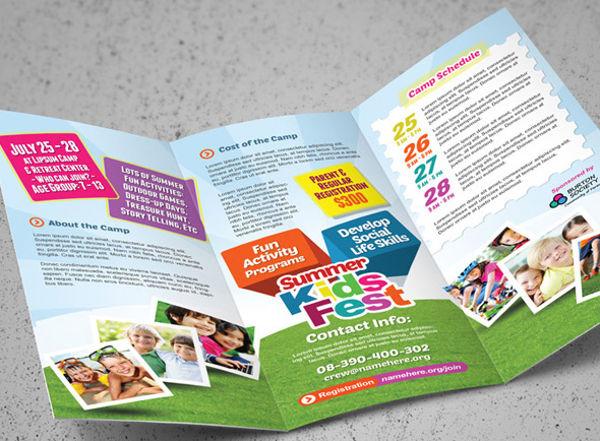kindergarten a4 bi fold brochure