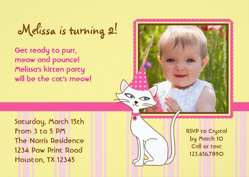 kitty cat party invitation