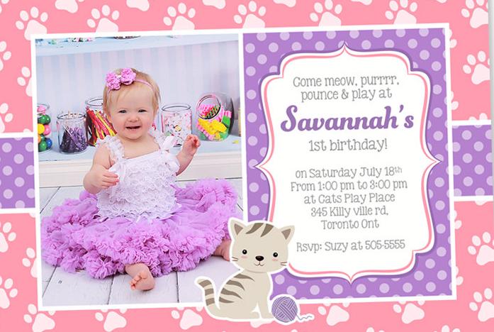 kitty photo birthday party invitation