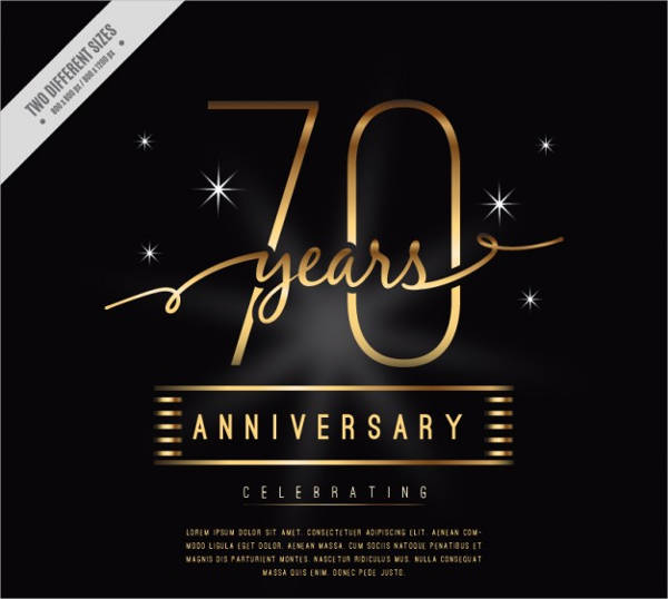 luxury 70 years anniversary card