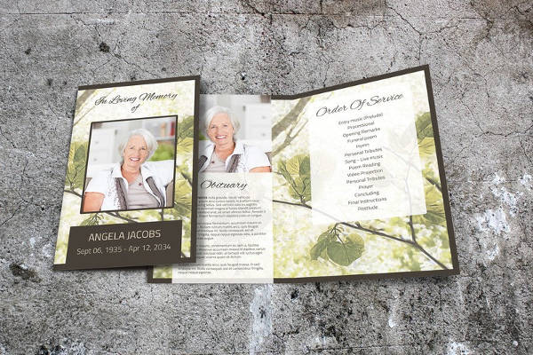 memorial service program brochure